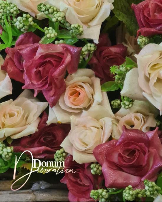 Csillámos rózsacsokor / Kárminvörös
