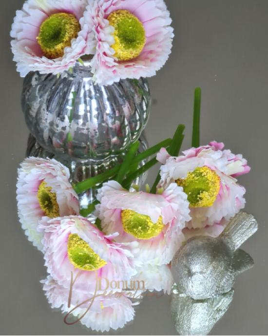 Virágfej szárral / Törtfehér rózsaszín antikolással